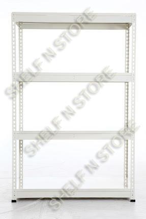 4 tiers beige metal decking boltless rack